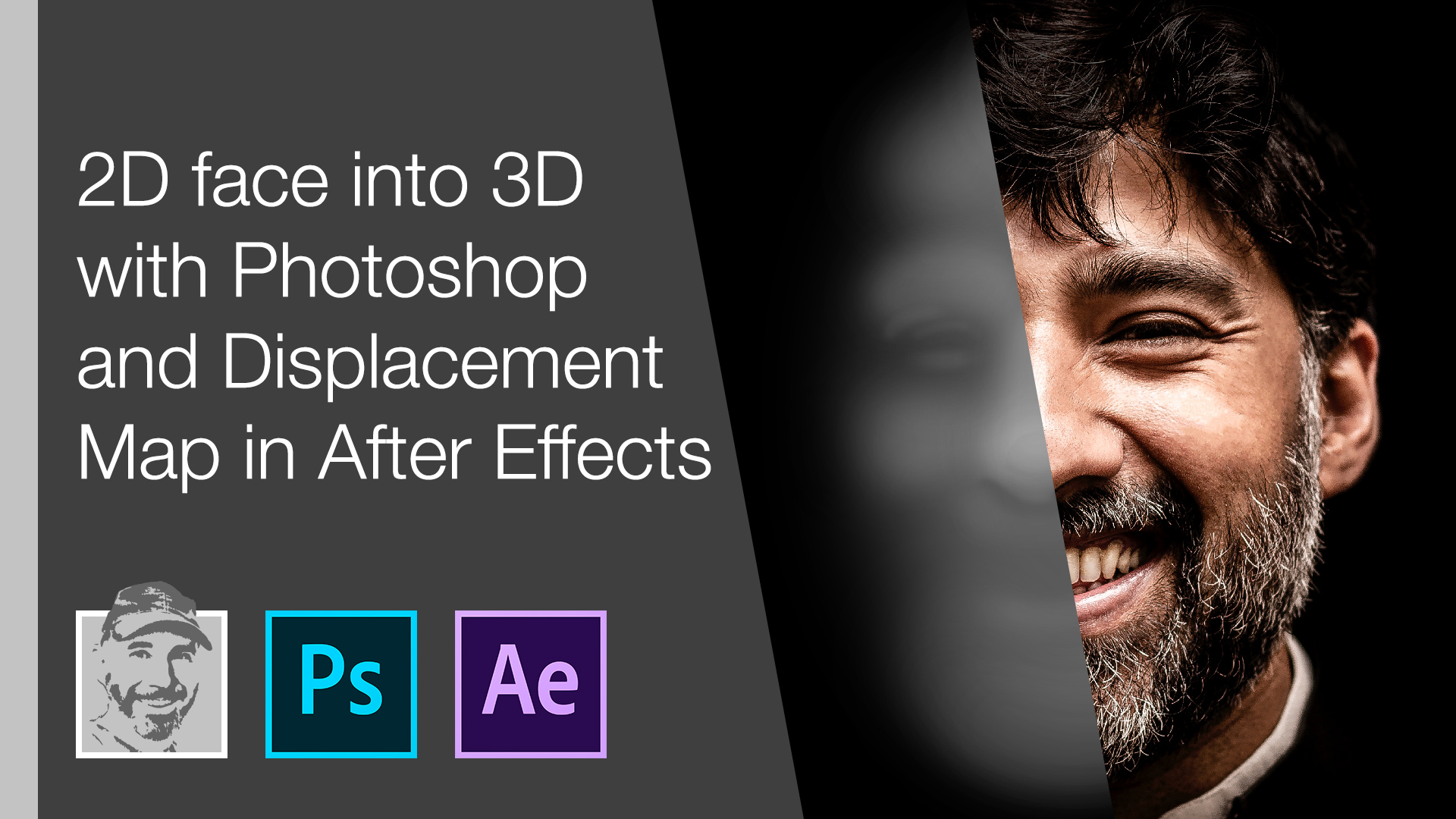 2d face into 3d with Photoshop and Displacement Map in After