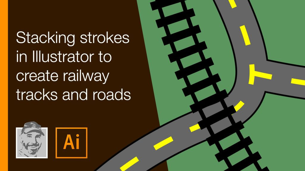 Stacking strokes in Illustrator to create railway tracks and roads